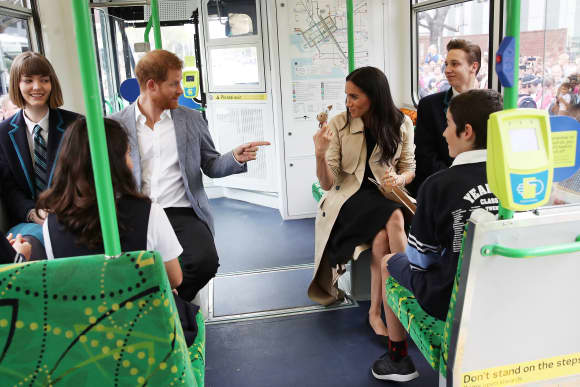The Duke and Duchess of Sussex on a Melbourne Tram