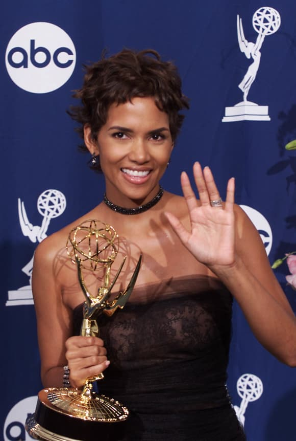 Halle Berry with her award for Outstanding Lead Actress in a Miniseries or Movie for 'Introducing Dorothy Dandridge'