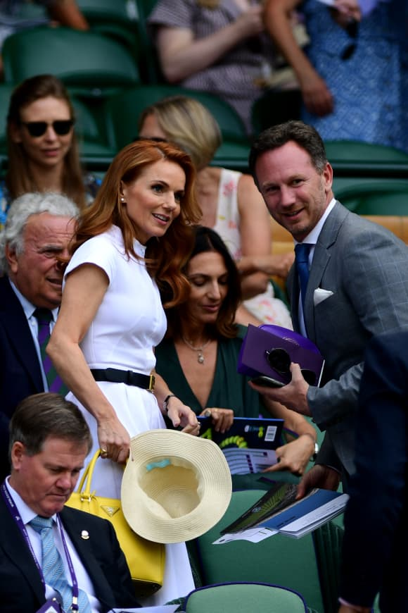 Geri Halliwell and Christian Horner attend the Wimbledon 2019 Tennis Championships in London, England.
