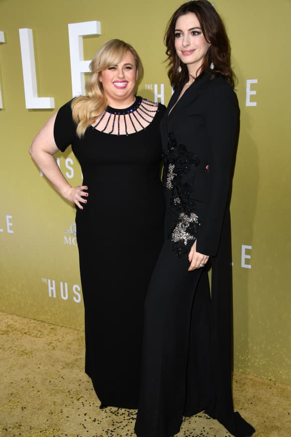 Rebel Wilson and Anne Hathaway at the Hollywood premiere of The Hustle on May 8, 2019.