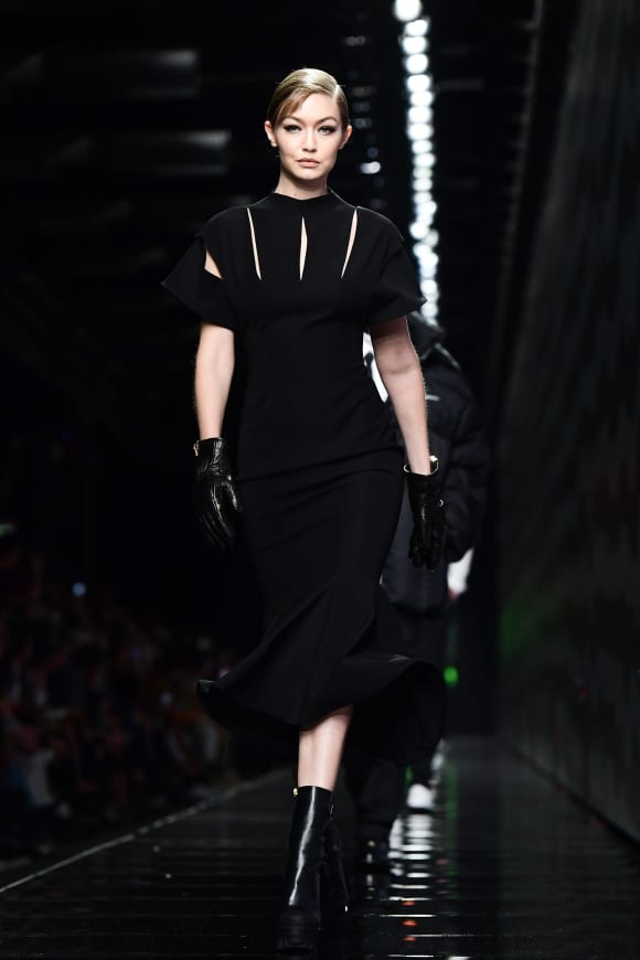 Model Gigi Hadid presents a creation for Versace Women Fall - Winter 2020 fashion collection during Milan Fashion Week.