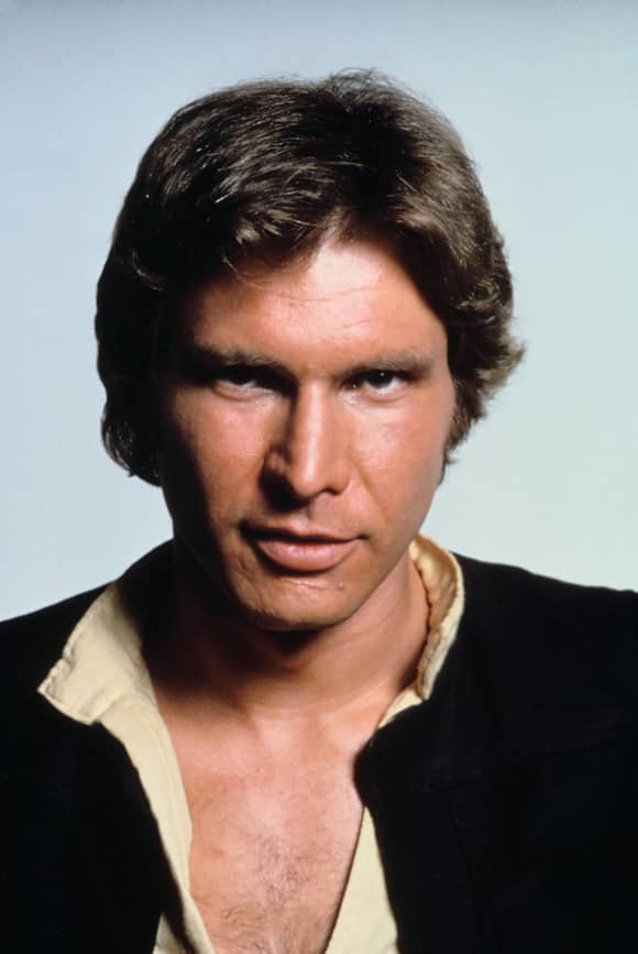 """Harrison Ford playing """"Han Solo"""" in 'Star Wars: A New Hope'"""