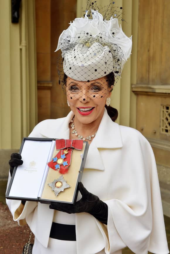 Joan Collins was knighted in 2015