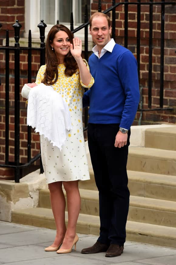 Prince William and Duchess Catherine with newborn Princess Charlotte