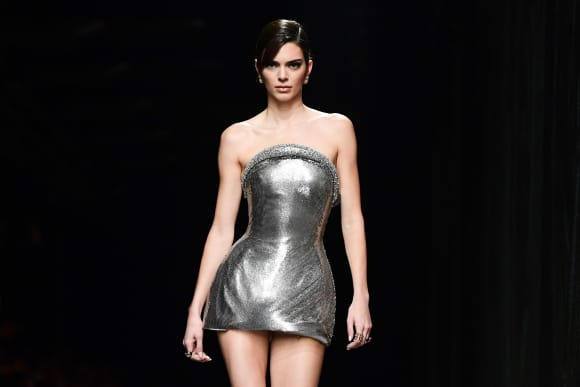 Kendall Jenner presents a creation for Versace' Women Fall - Winter 2020 fashion collection during Milan Fashion Week.