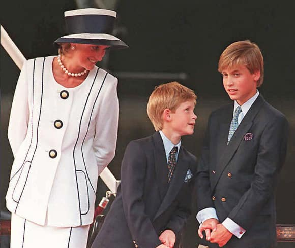 Princess Diana, Prince Harry and Prince William in London in 1995