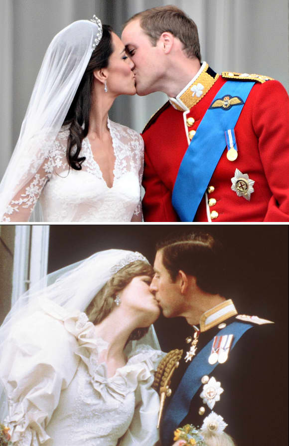 Two royal marriages, two royal kisses, one pose