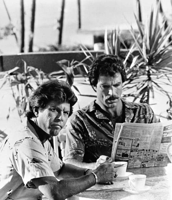 "Larry Manetti and Tom Selleck in ""Magnum, P.I."" in 1980"