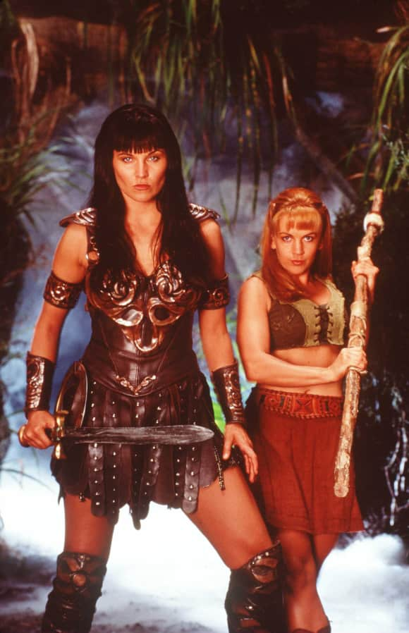 "Lucy Lawless and Renée O'Connor in ""Xena: Warrior Princess"""