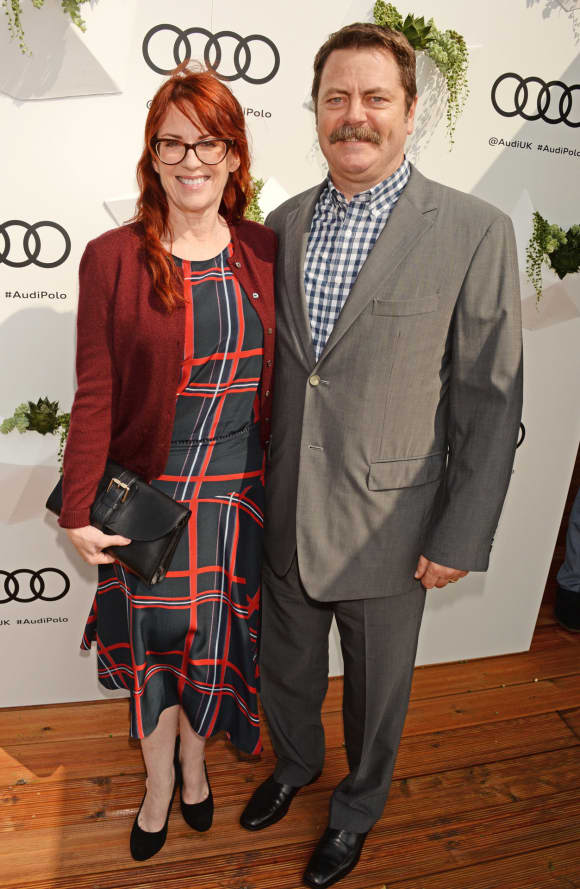 "Megan Mullally and Nick Offerman at the ""Audi Polo Challenge"""