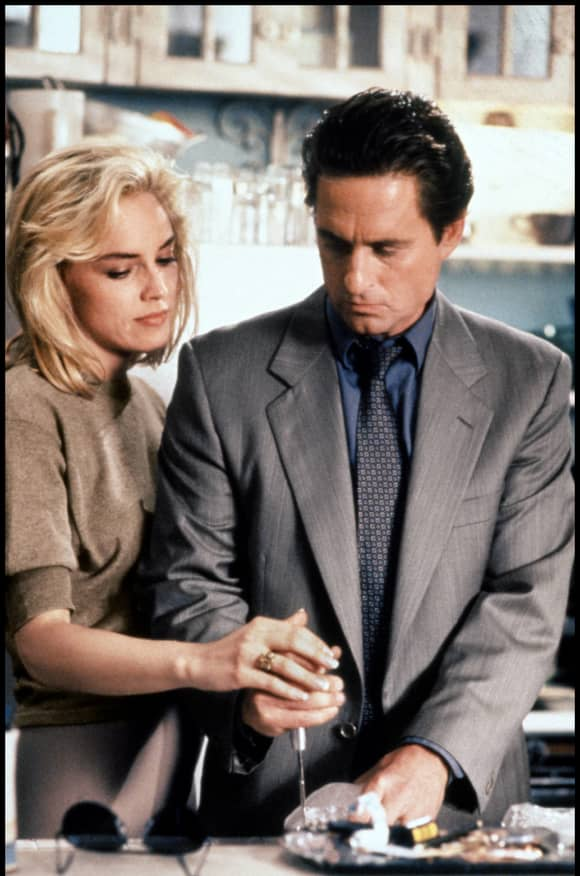 Michael Douglas and Sharon Stone in 'Basic Instinct'