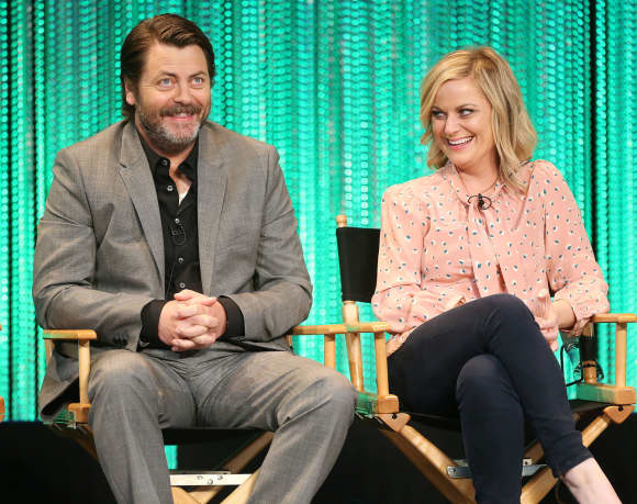 "Nick Offerman and Amy Poehler from ""Parks and Recreation"""