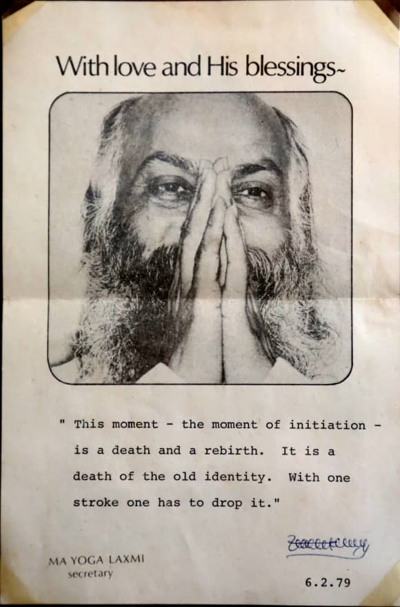 """An old flyer from the Indian Guru known as """"Osho"""" featured in """"Wild Wild Country"""""""