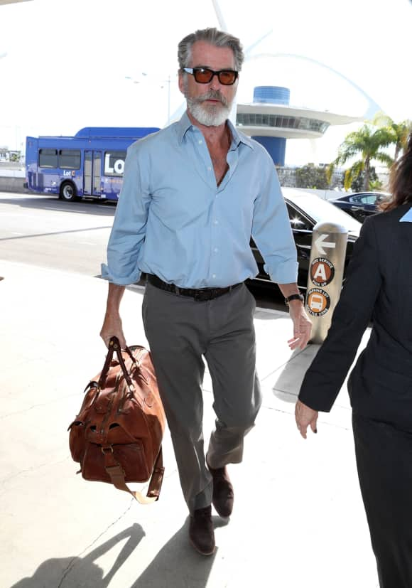Pierce Brosnan, sporting an amazing beard at LAX James Bond Mamma Mia