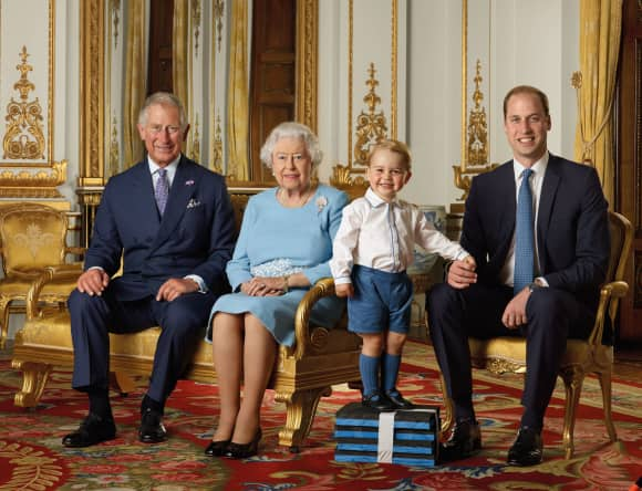 Prince Charles, Queen Elisabeth II, Prince George and Prince William