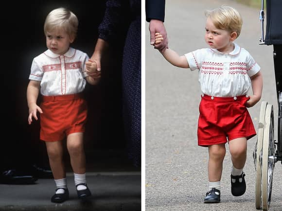 Prince William in 1984 and Prince George in 2015