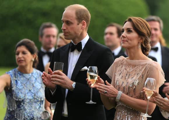 Just beautiful: William and Kate at a glamorous dinner party.