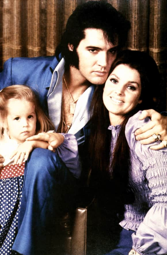 Priscilla, Elvis and Lisa Marie Presley in 1970