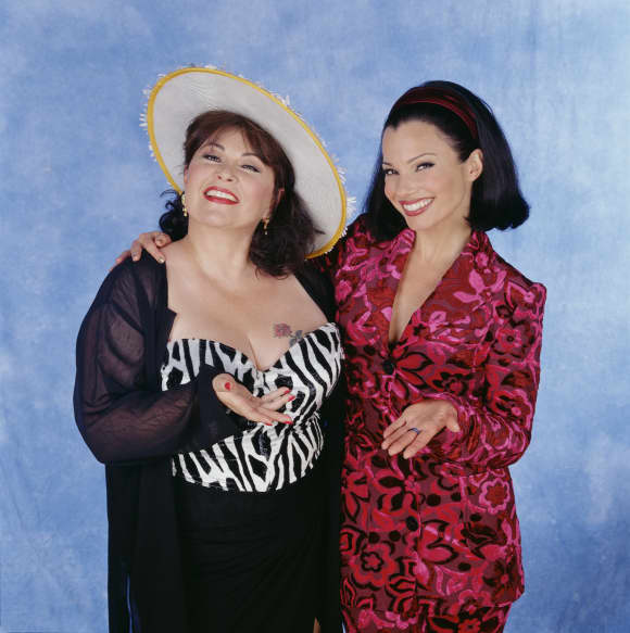 "Roseanne Barr and Fran Drescher in ""The Nanny"""