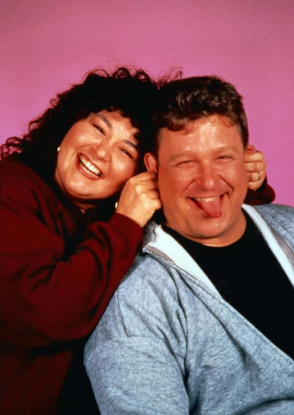 "Roseanne Barr and John Goodman in ""Roseanne"""