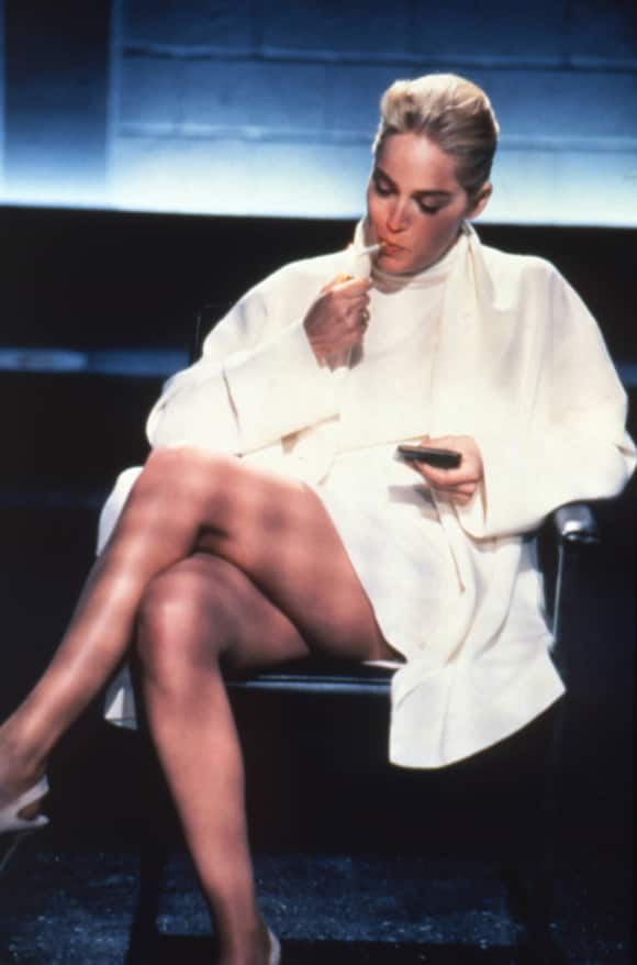 "Sharon Stone plays the role of ""Catherine Tramell"" in ""Basic Instinct"""