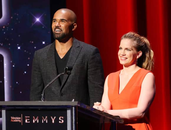 Shemar Moore and Anna Chlumsky announcing the nominees for the 2017 Emmy Awards.