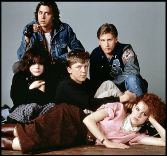 Cast of 'The Breakfast Club' 1985 Emilio Estevez, Anthony Michael Hall, Molly Ringwald, Judd Nelson, and Ally Sheedy