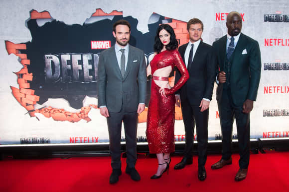 The Cast of The Defenders at a New York city premiere