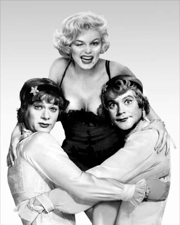 "Marilyn Monroe and Tony Curtis in ""Some Like It Hot"""