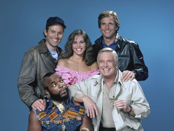 """The A-Team"": Dwigth Schultz, Melinda Culea, Dirk Benedict, Mr. T and Geroge Peppard"