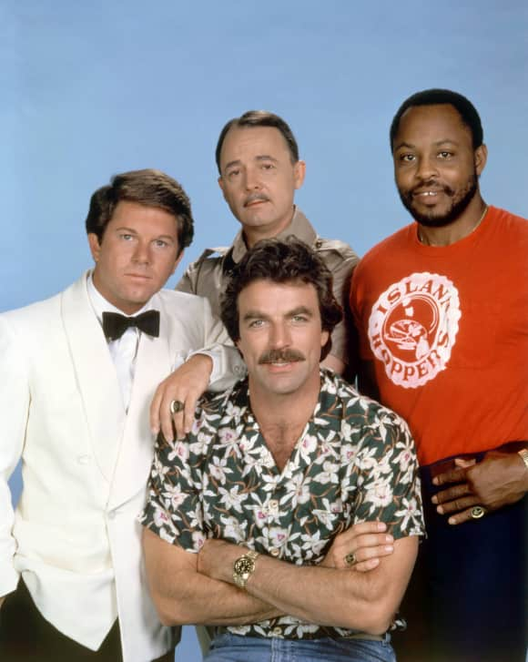 "Larry Manetti, Tom Selleck, John Hillerman and Roger E. Mosley in ""Magnum, P.I."""