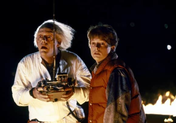"Michael J. Fox and Christopher Lloydin ""Back To The Future"""