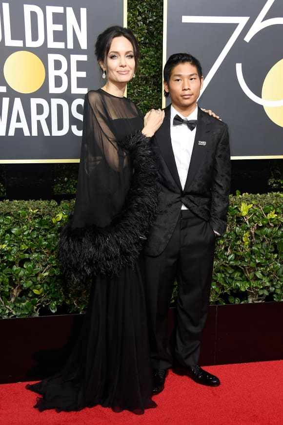 Angelina Jolie and son Pax at the 75th Golden Globes