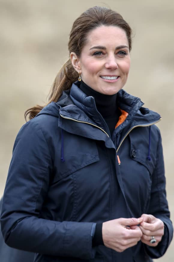 The Duchess of Cambridge at the beach in north Wales while on royal engagement.