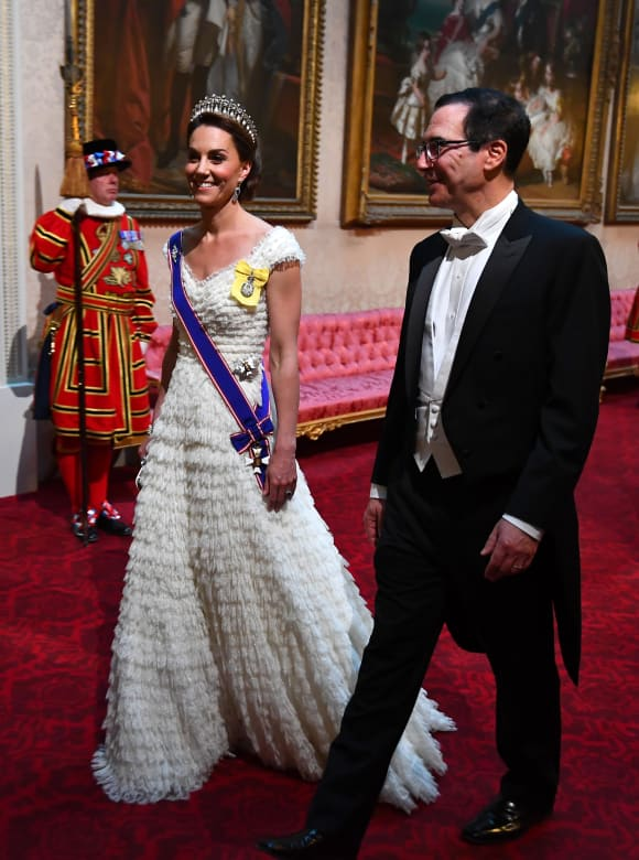 Duchess Catherine and US Secretary of Treasury Steven Mnuchin at the State Banquet in honor of President Trumps State Visit.