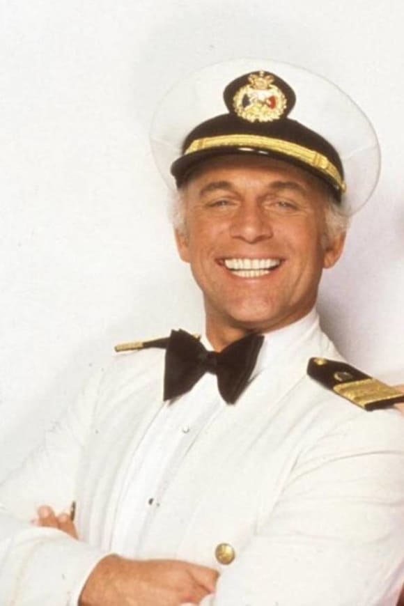 "Gavin MacLeod as ""Captain Merrill Stubing"" in 'The Love Boat'."