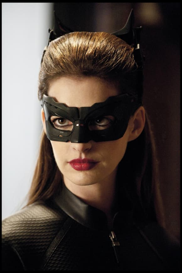 """Anne Hathaway plays """"The Cat"""" in the 2012 film, The Dark Knight Rises."""