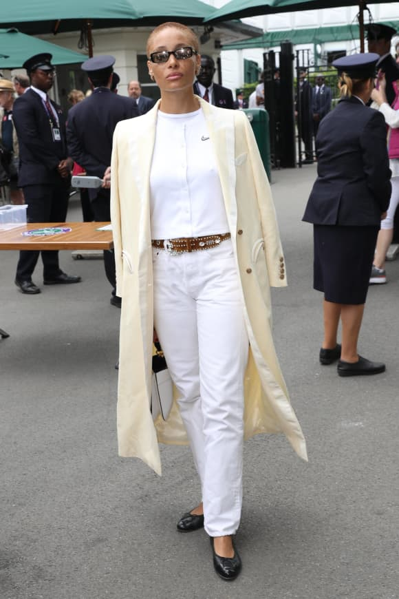 Adwoa Aboah attends the Wimbledon 2019 Tennis Championships in London, England.