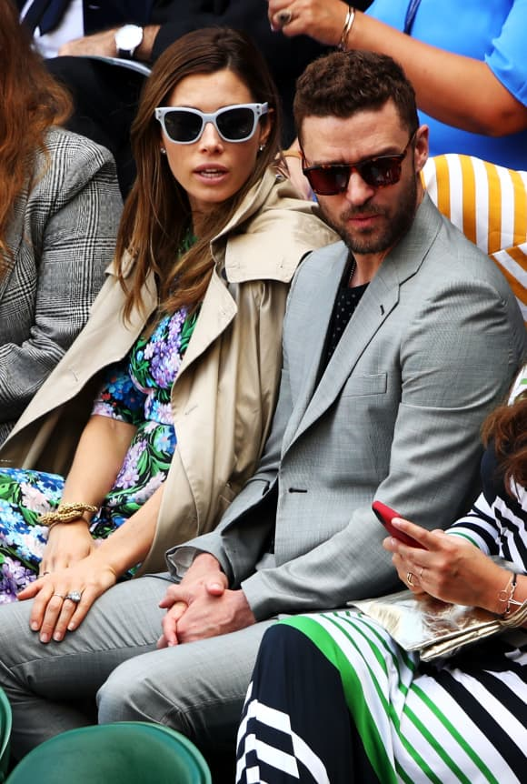 Jessica Biel and Justin Timberlake attend day eight of the Wimbledon Lawn Tennis Championships