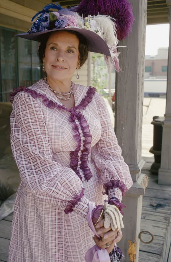 """Katherine """"Scottie"""" MacGregor in her iconic role as """"Harriet Oleson"""" on Little House on the Prairie in 1979"""