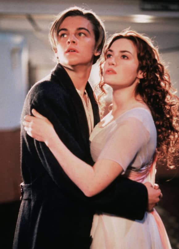 "Leonardo DiCaprio as ""Jack"" and Kate Winslet as ""Rose"" in 'Titanic'."