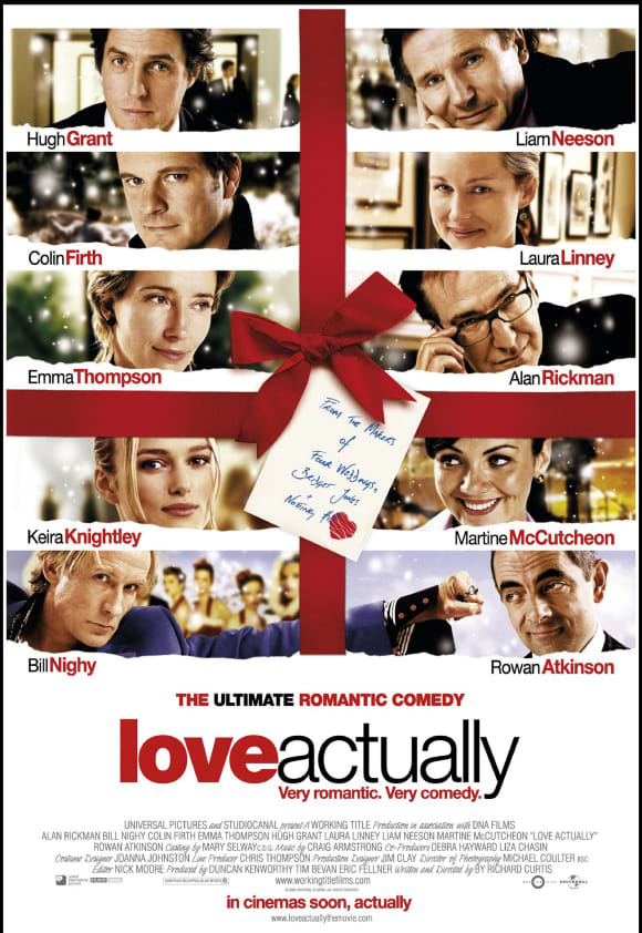 The movie Love Actually was released in 2003 with a star-studded cast. It is a Christmas classic!