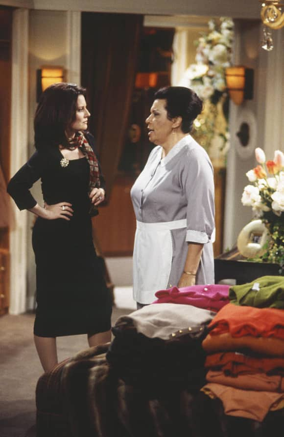 Megan Mullally and Shelley Morrison on the set of Will & Grace