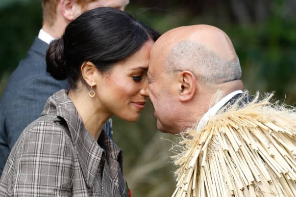 The Duchess of Sussex performing the traditional greeting the 'Hongi' in Wellington, New Zealand