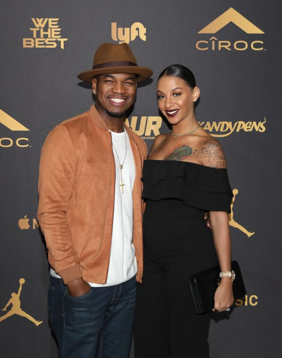 Ne-Yo and Crystal Renay attend The Four cast Sean Diddy Combs, Fergie, and Meghan Trainor Host DJ Khaled's Birthday on December 2, 2017