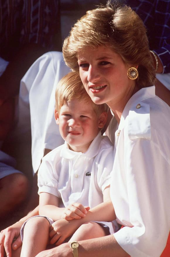Prince Harry and Princess Diana in Majorca, Spain on 08-13-1988.
