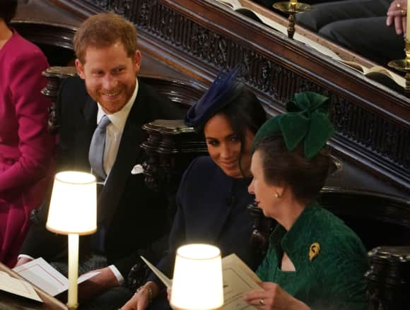 Prince Harry with his wife Duchess Meghan and his aunt Anne, the Princess Royal in St. George's Chapel.