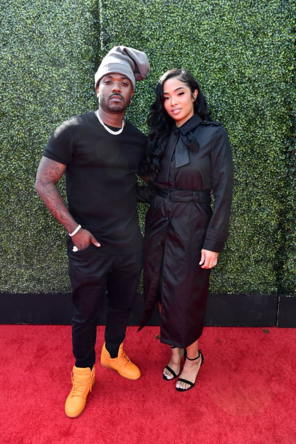 Ray J and Princess Love attend the 2019 MTV Movie and TV Awards at Barker Hangar on June 15, 2019 in Santa Monica, California