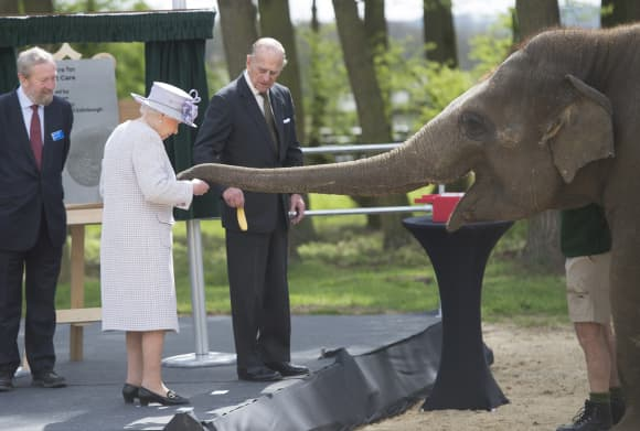 The Queen and Prince Philip at Whipsnade Zoo