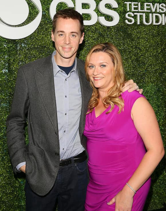 Sean Murray and his wife Carrie James on the CBS Red Carpet